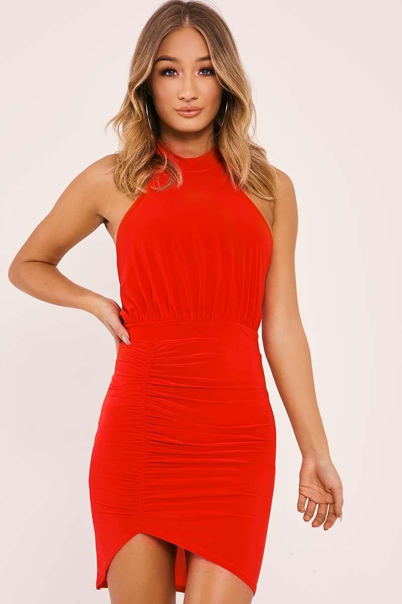 DAJA RED HALTERNECK RUCHED SLINKY DRESS