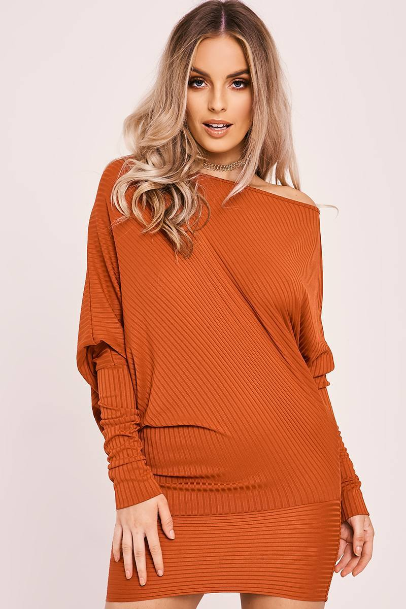rust batwing long sleeve asymmetric mini dress