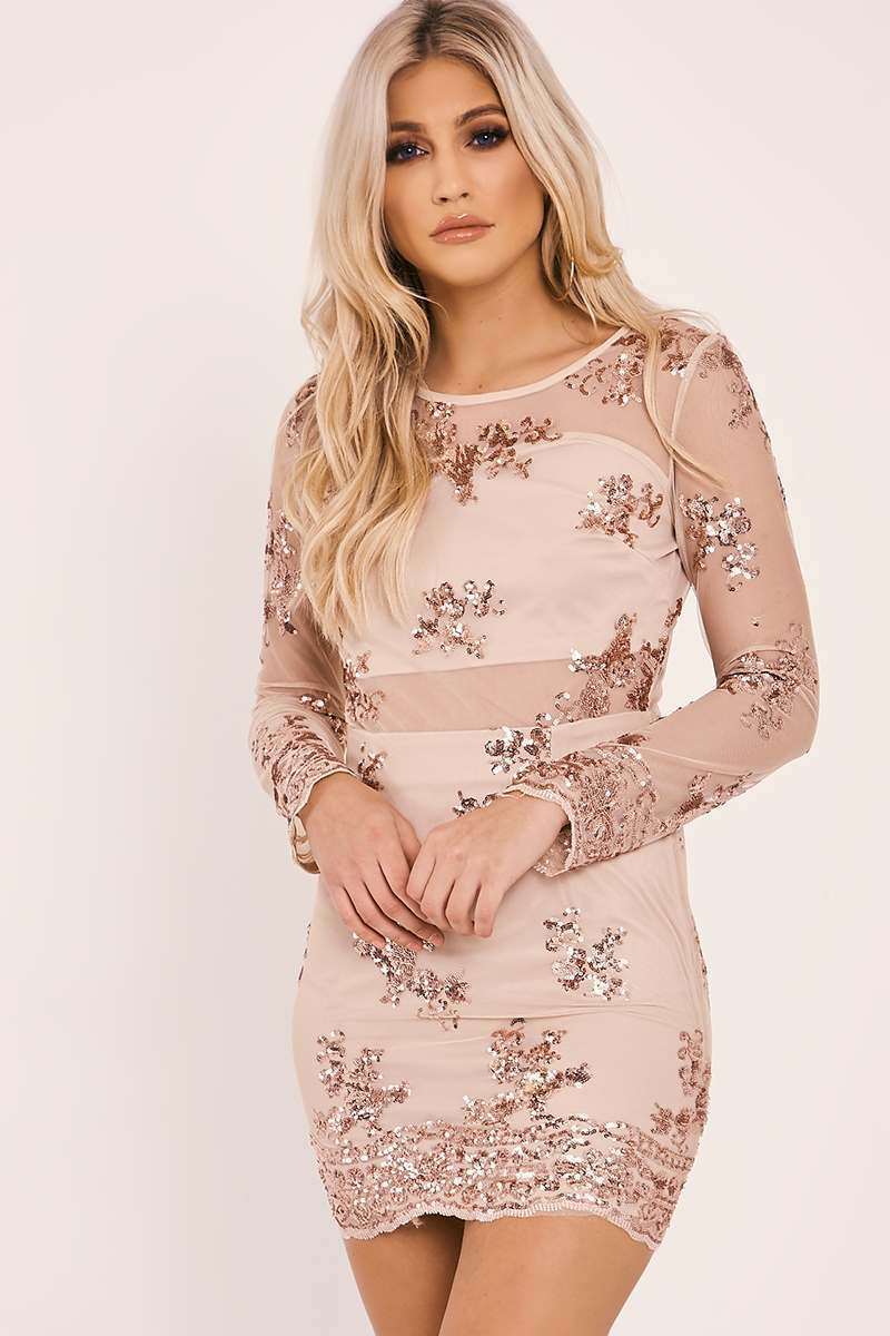CRYSTAL ROSE GOLD SEQUIN LONG SLEEVE MESH DRESS