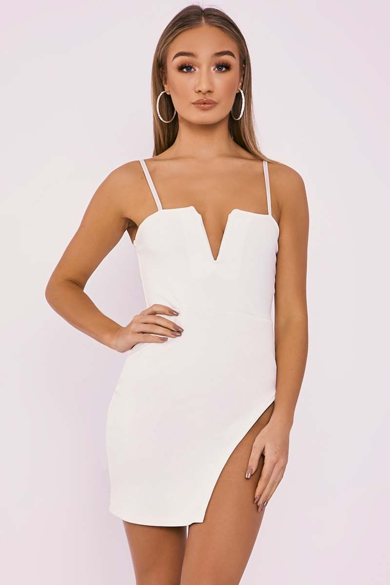 DAIZIE WHITE V PLUNGE SPLIT LEG MINI DRESS