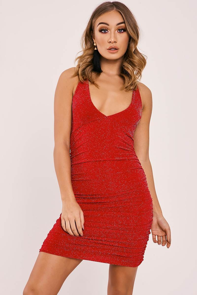 BRINA RED GLITTER PLUNGE RUCHED DRESS