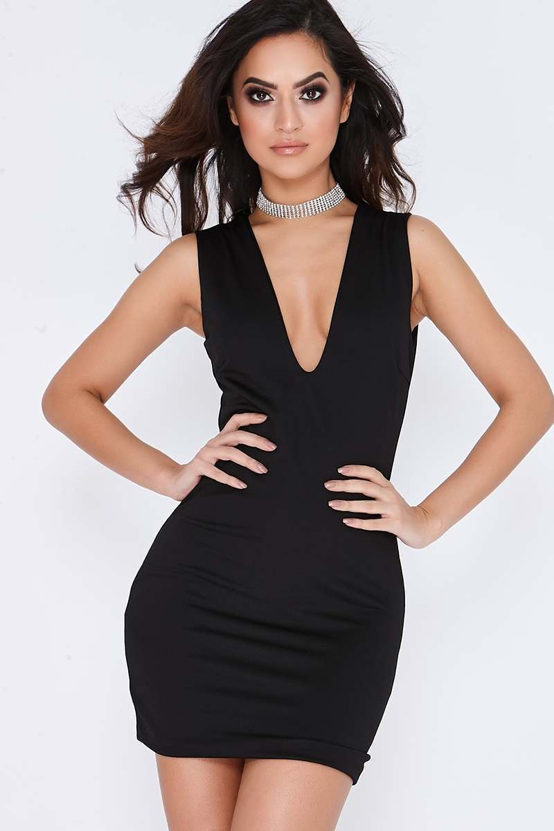 ALSIE BLACK PLUNGE BODYCON MINI DRESS