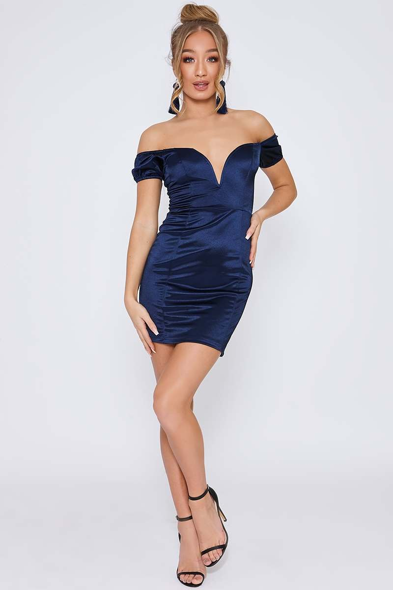 blue satin bardot plunge mini dress