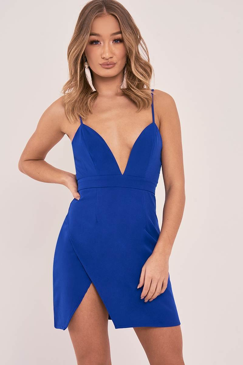 AMBERLEE COBALT STRAPPY PLUNGE SPLIT SIDE DRESS