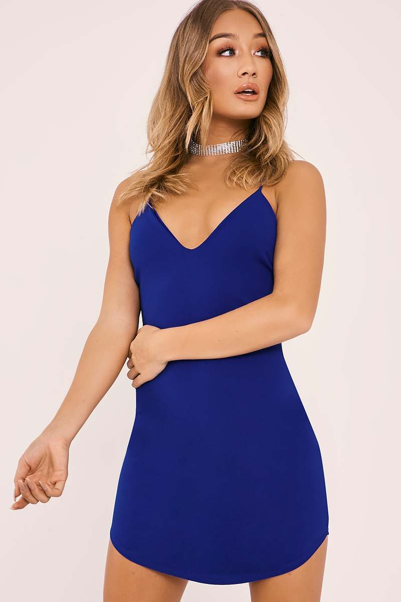 ALINTA COBALT BLUE STRAPPY PLUNGE BODYCON MINI DRESS
