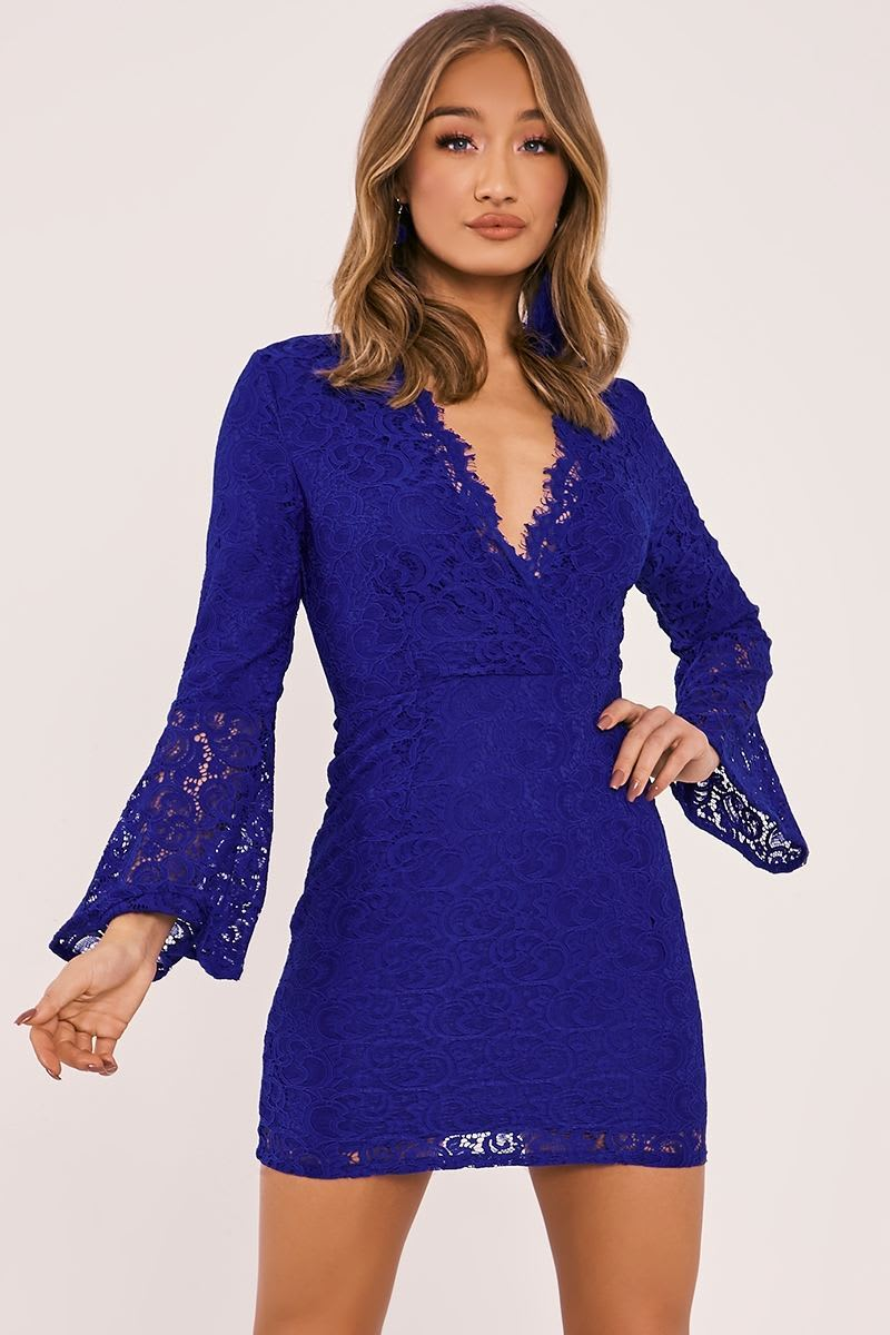 FRAYDA COBALT LACE FLARED SLEEVE PLUNGE DRESS