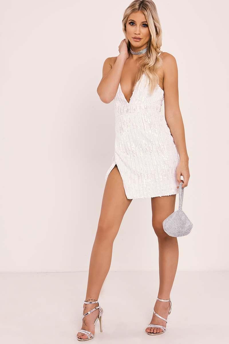 cream velvet sequin plunge dress