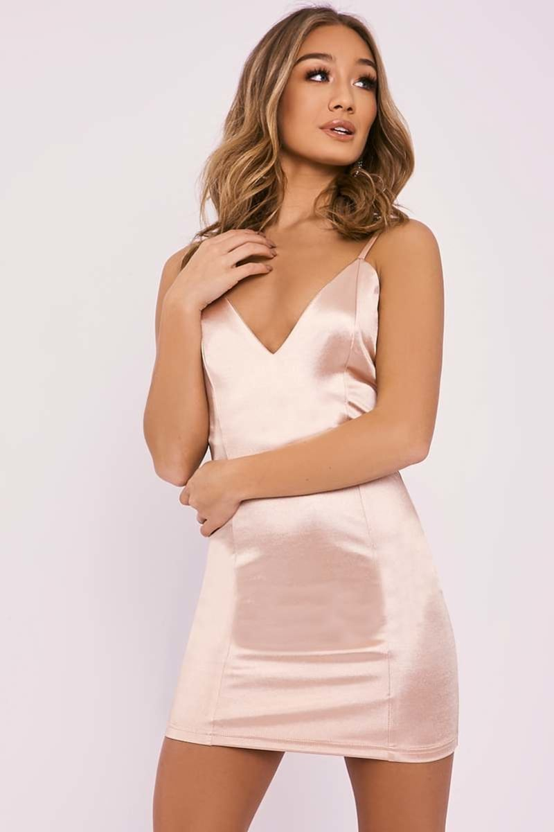 gold satin plunge mini dress