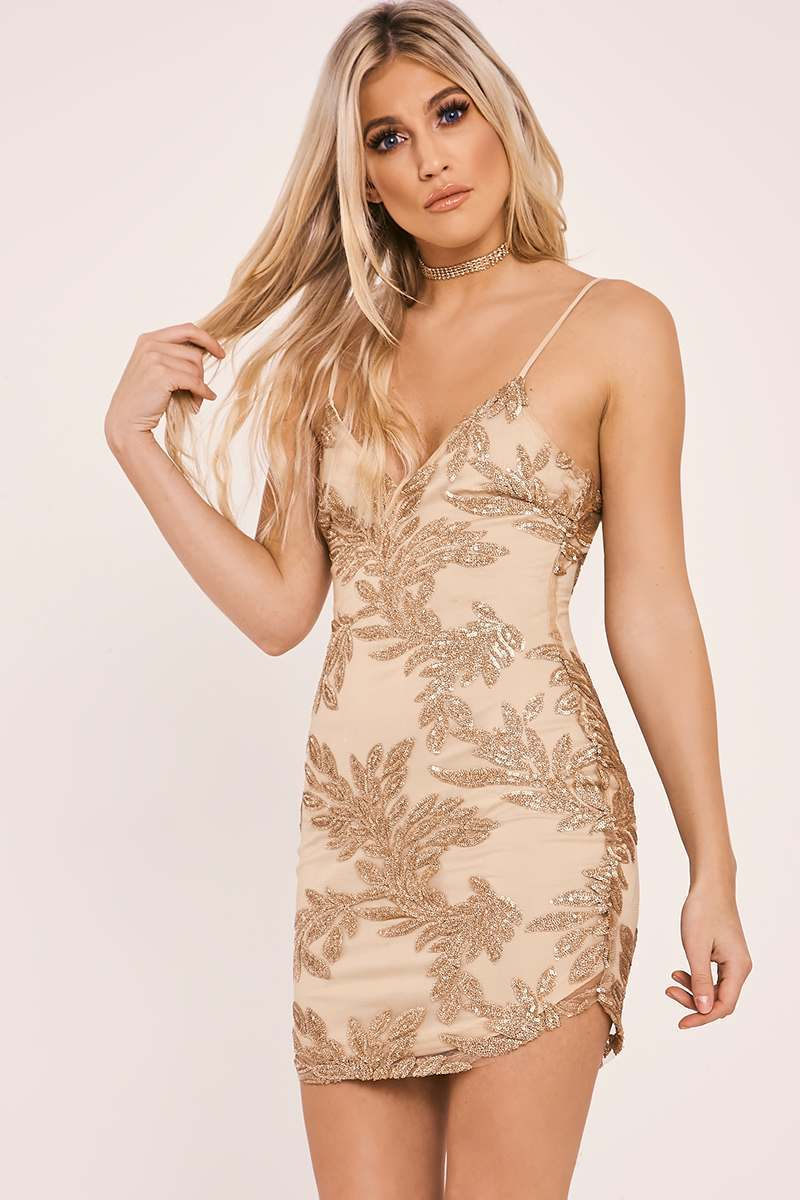 gold sequin leaf plunge bodycon dress