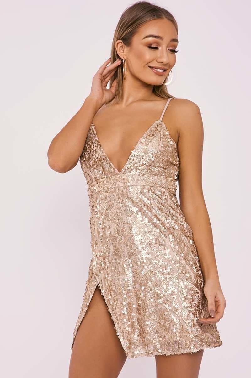 gold sequin sparkle plunge mini dress