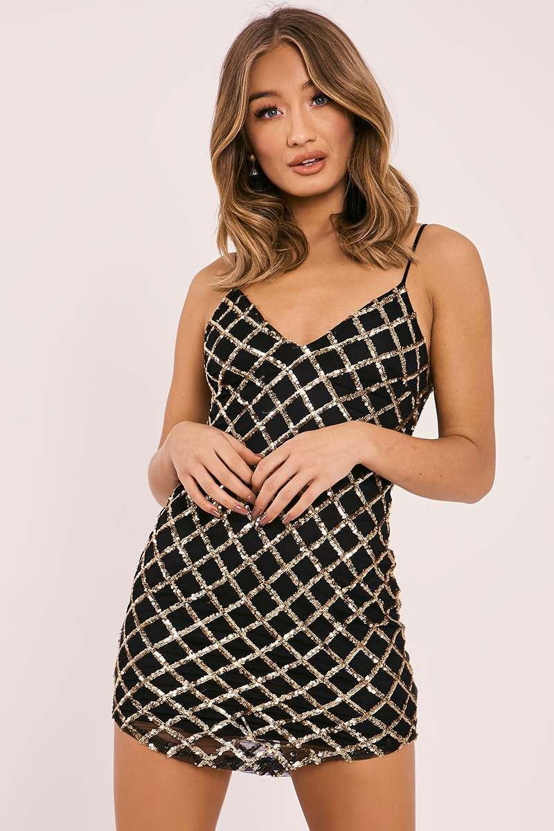 gold diamond sequin mesh plunge dress