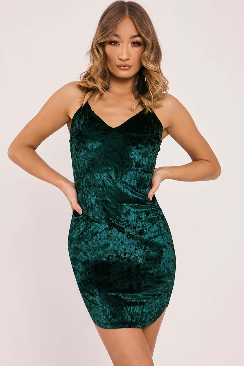 CARAGH GREEN CRUSHED VELVET PLUNGE MINI DRESS