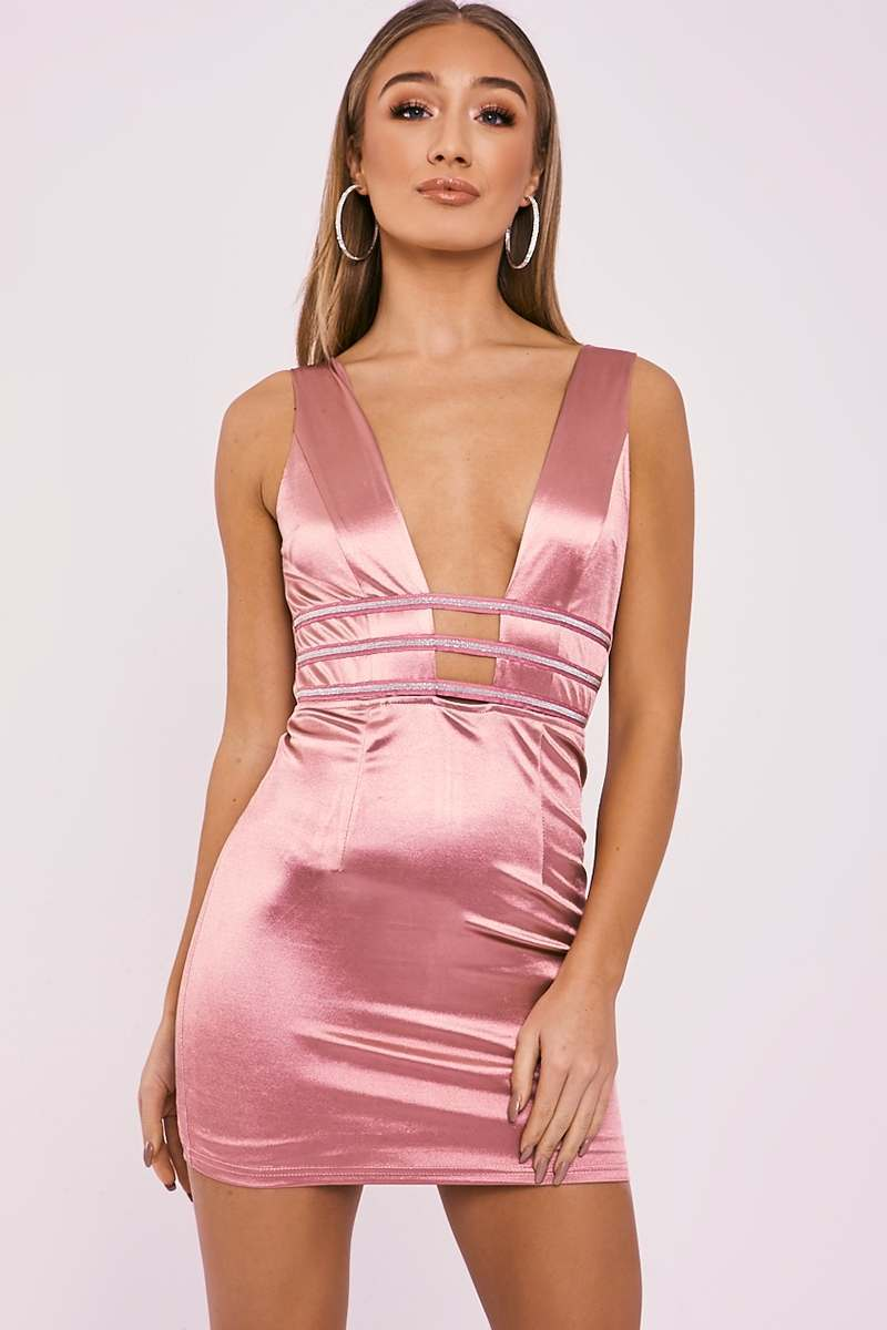 ABENA MAUVE SATIN PLUNGE DIAMANTE TRIM DRESS