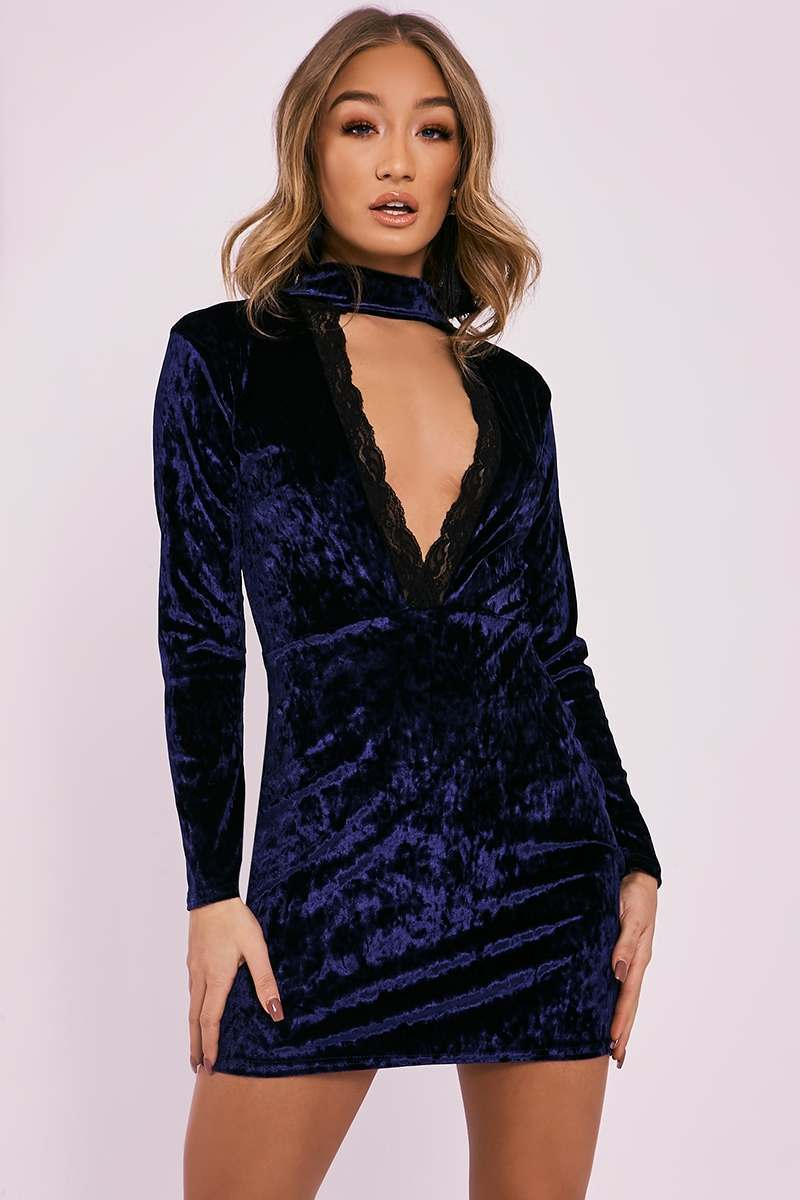 navy crushed velvet lace trim plunge dress