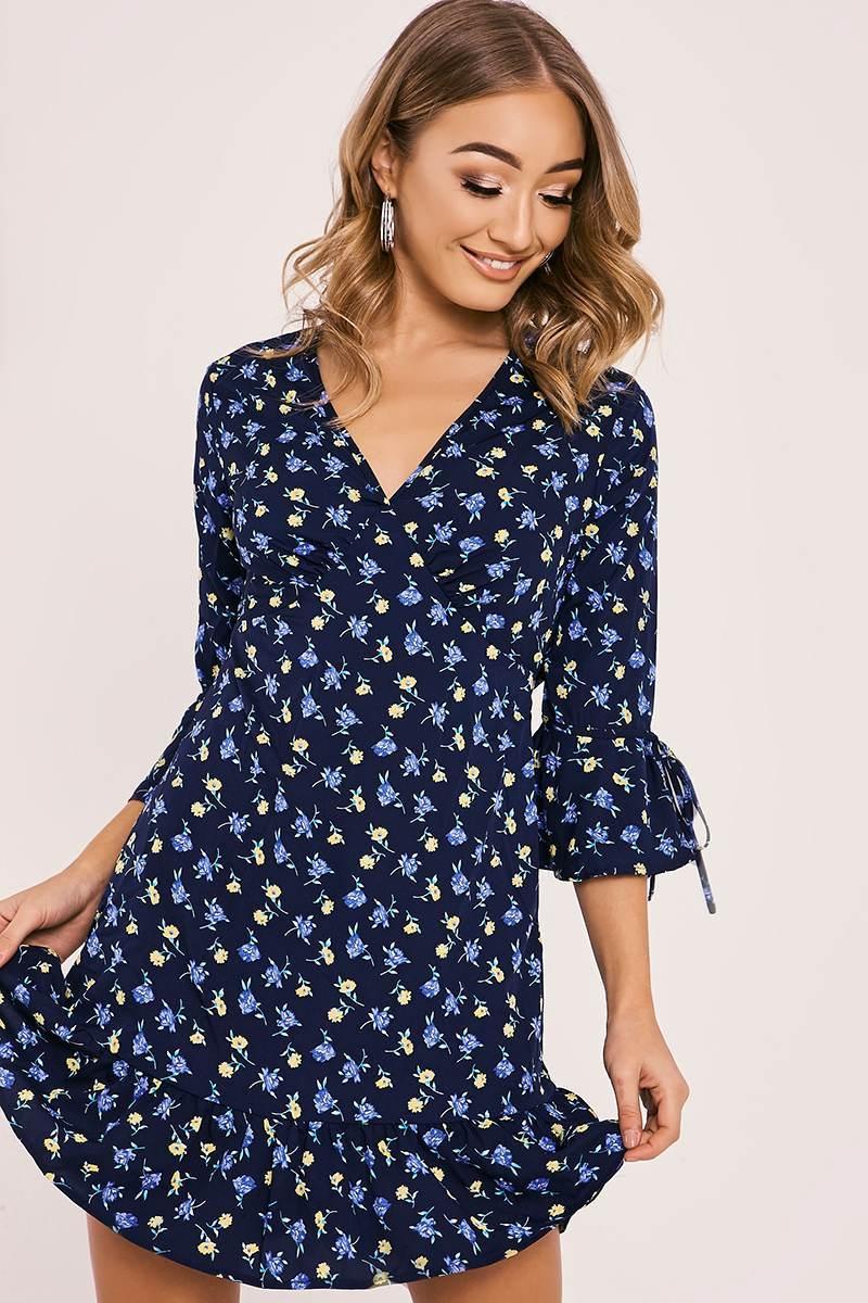 navy floral frill mini dress