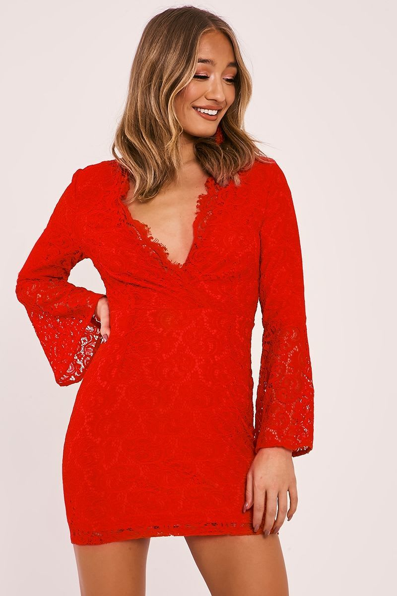 FRAYDA RED LACE FLARED SLEEVE PLUNGE DRESS