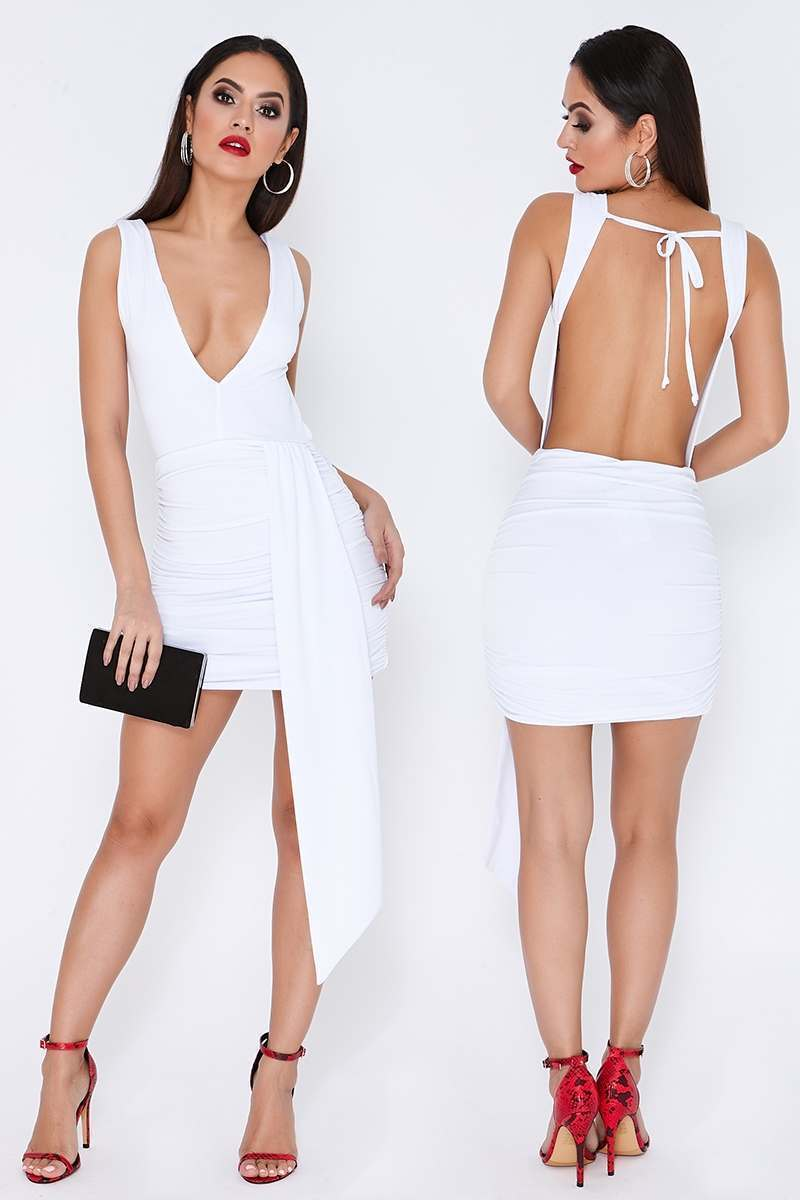 white slinky plunge drape front dress