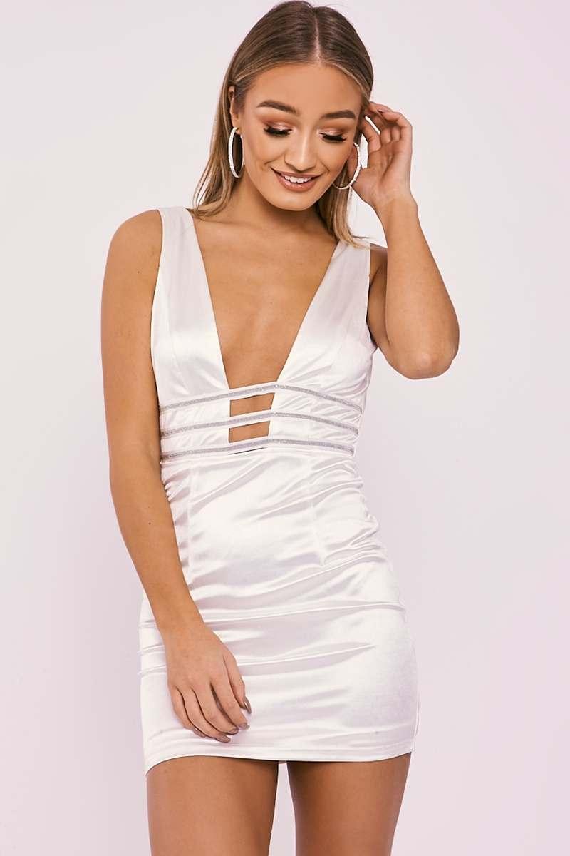 ABENA WHITE SATIN PLUNGE DIAMANTE TRIM DRESS