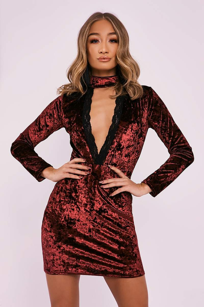 wine crushed velvet lace trim plunge dress