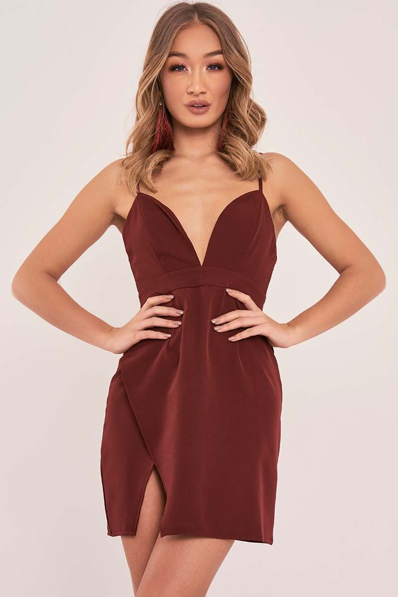 wine strappy plunge split side dress