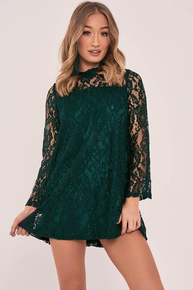 green floral lace mini dress