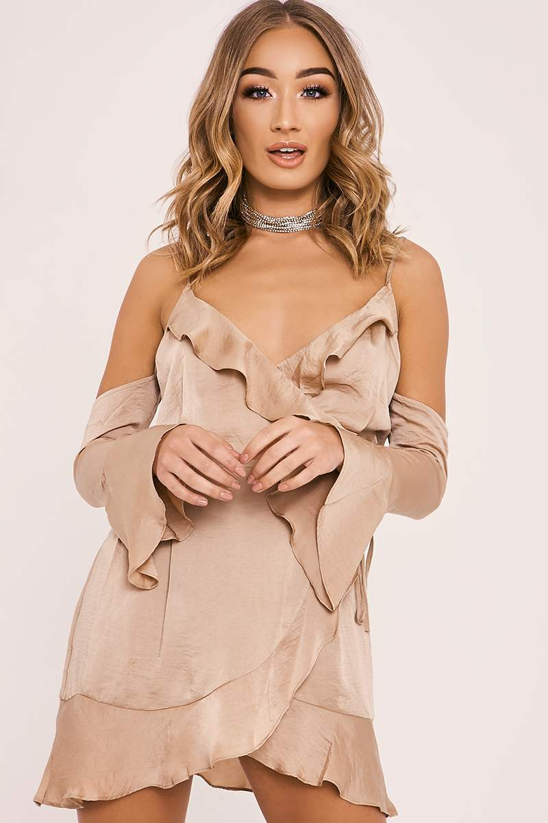 BETHEL GOLD SILKY COLD SHOULDER FRILL WRAP DRESS
