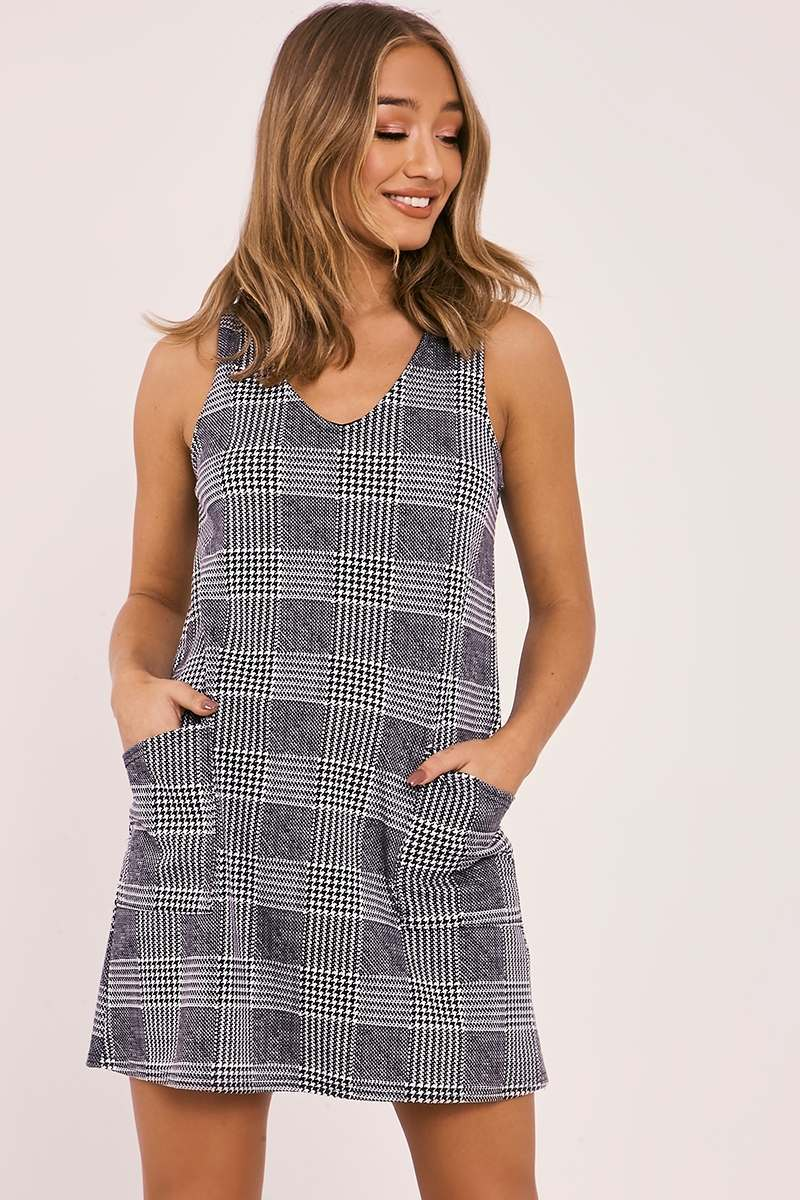 black checked pocket front mini dress