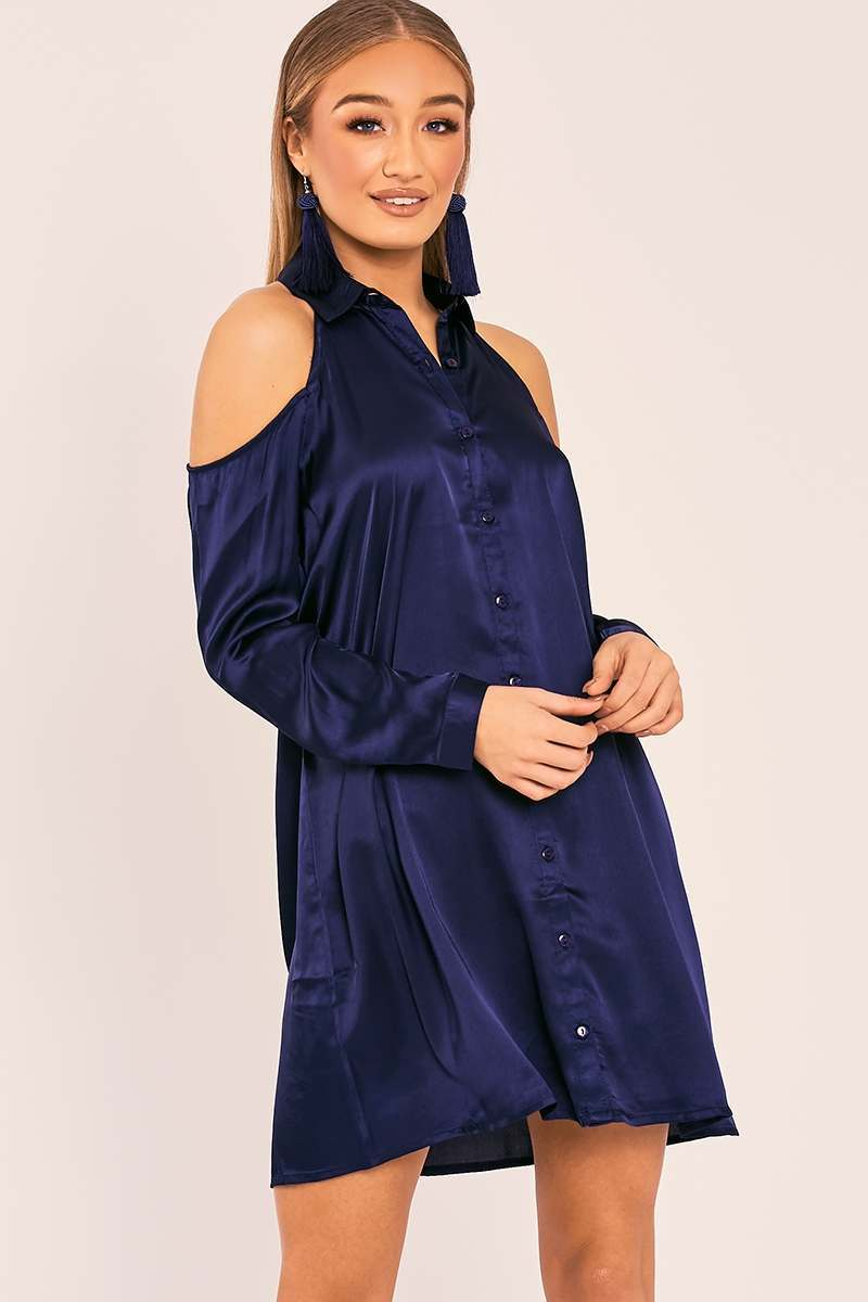 navy satin cold shoulder shirt dress