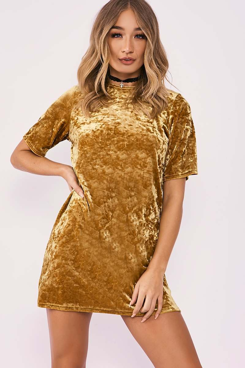 AMORI MUSTARD CRUSHED VELVET OVERSIZED T SHIRT DRESS