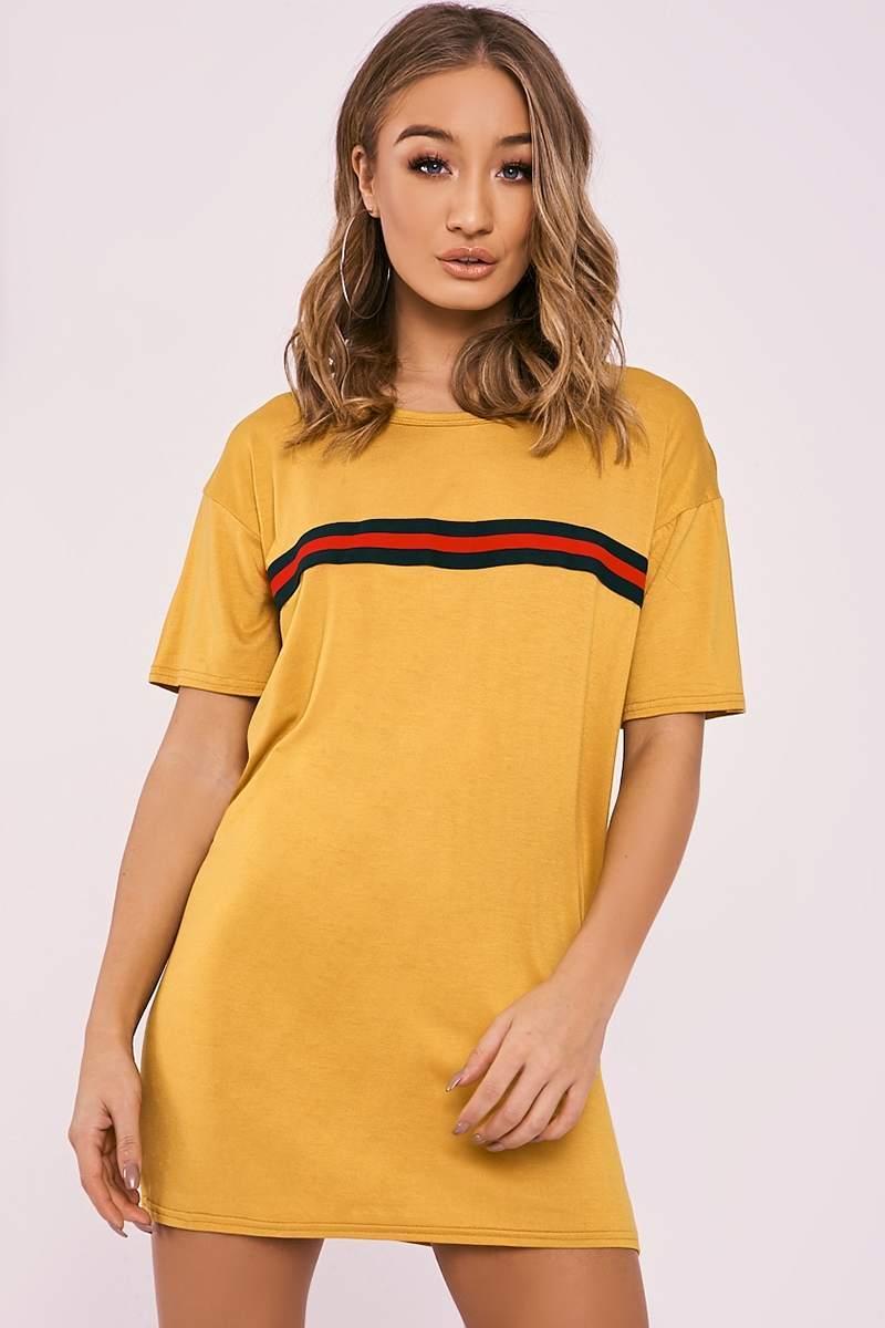 mustard sports stripe t shirt dress