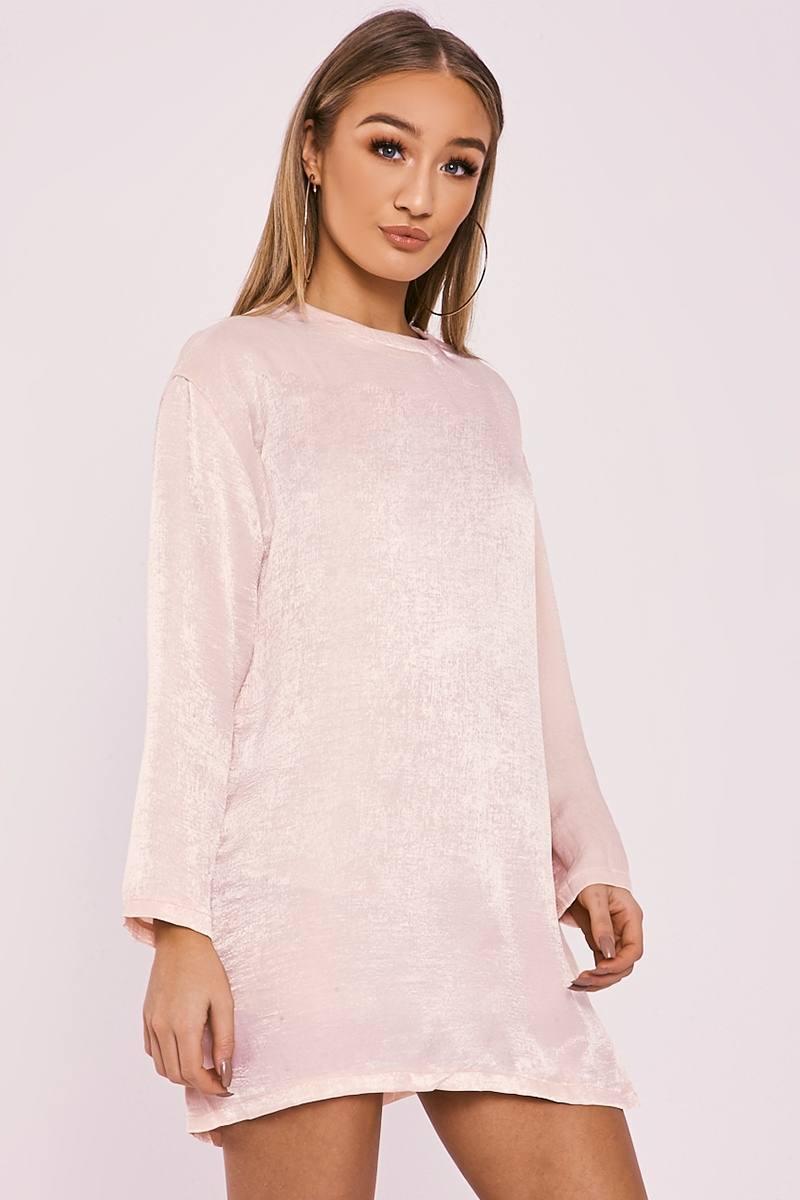 BETHEN NUDE SILKY SHEER OVERSIZED T SHIRT DRESS
