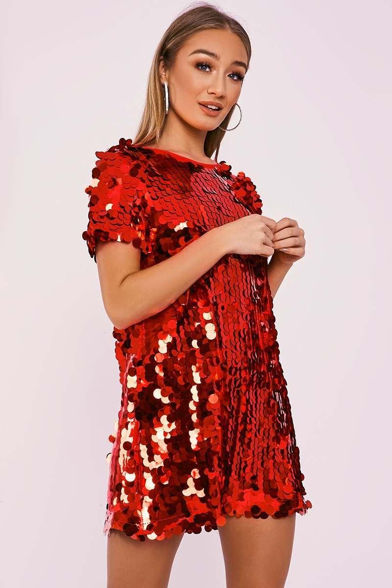 red sequin t shirt dress