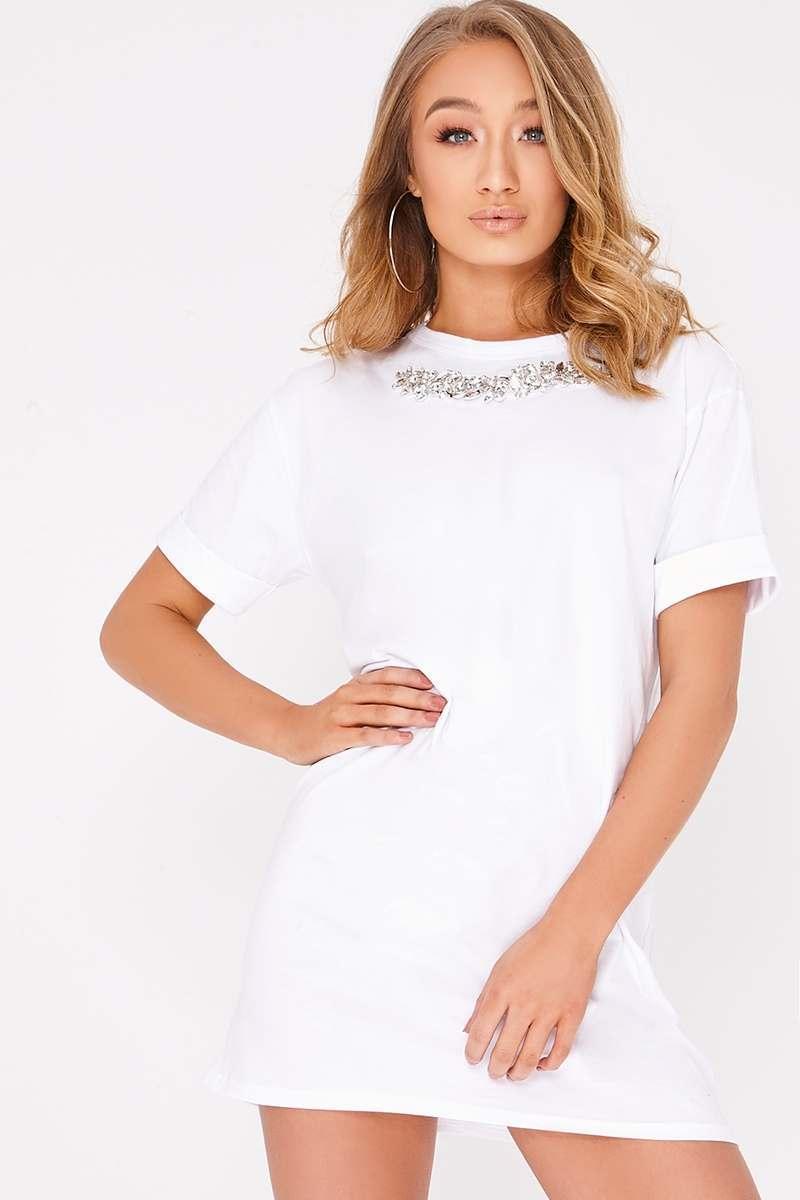 white embellished oversized t shirt dress