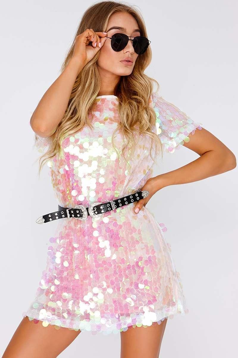 white iridescent sequin t shirt dress