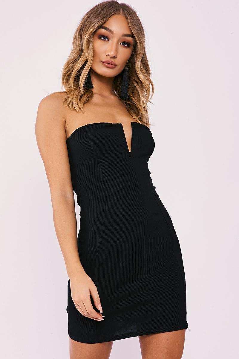 black ribbed plunge bandeau mini dress