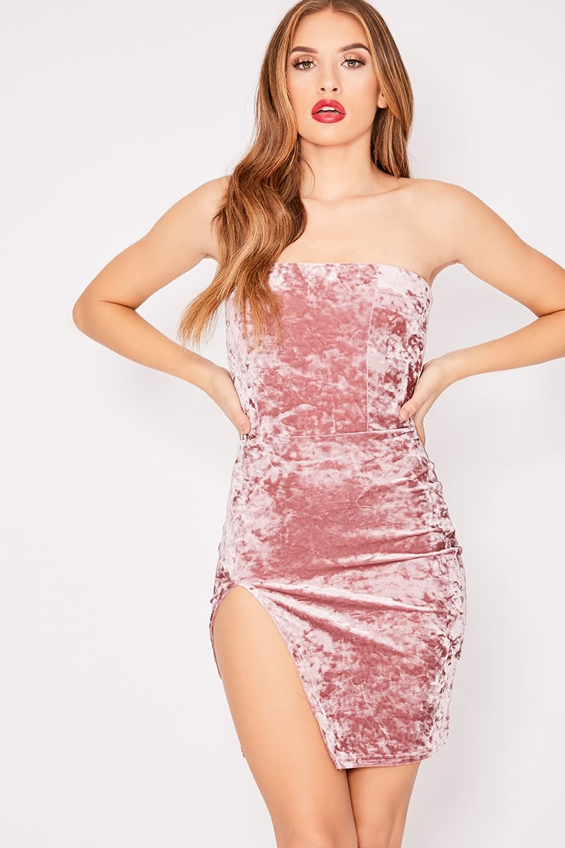 pink crushed velvet split leg bandeau dress