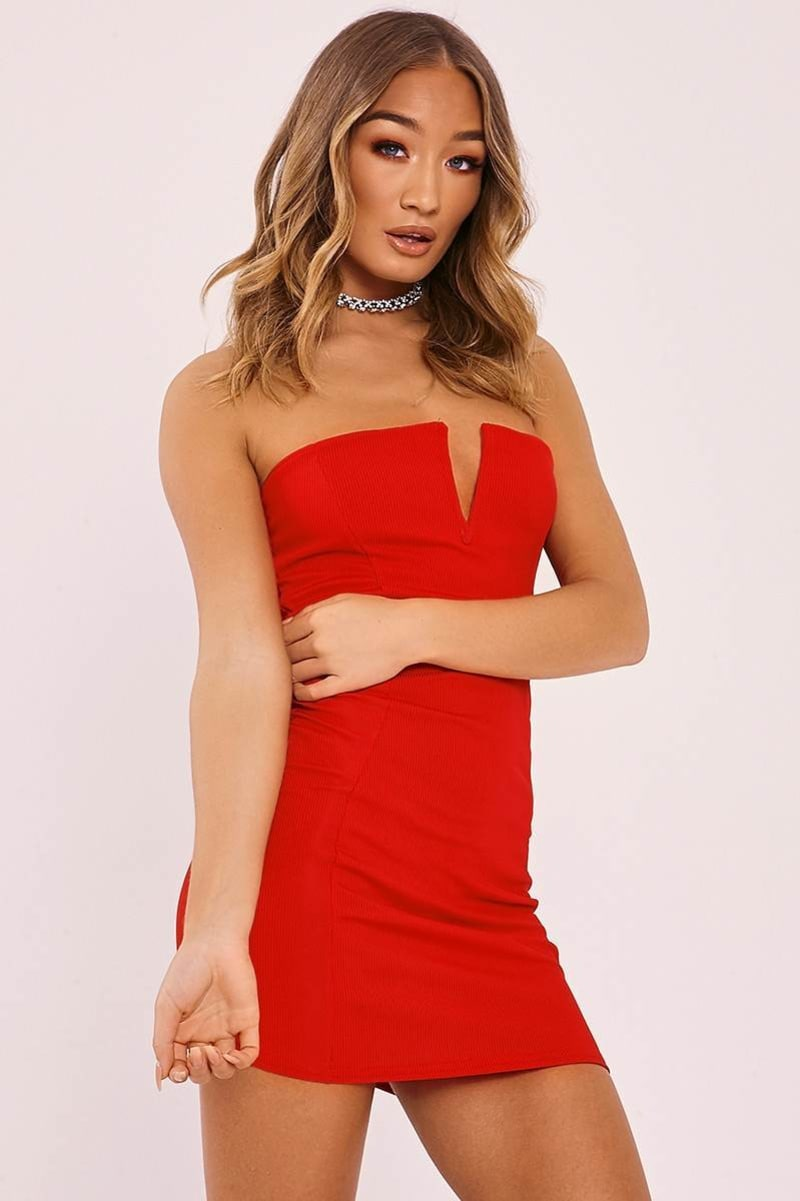 red ribbed plunge bandeau mini dress