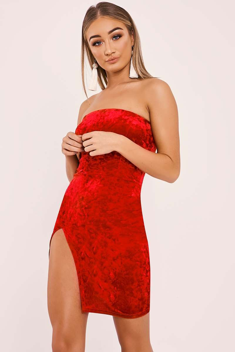 DALIY RED CRUSHED VELVET SPLIT LEG BANDEAU DRESS