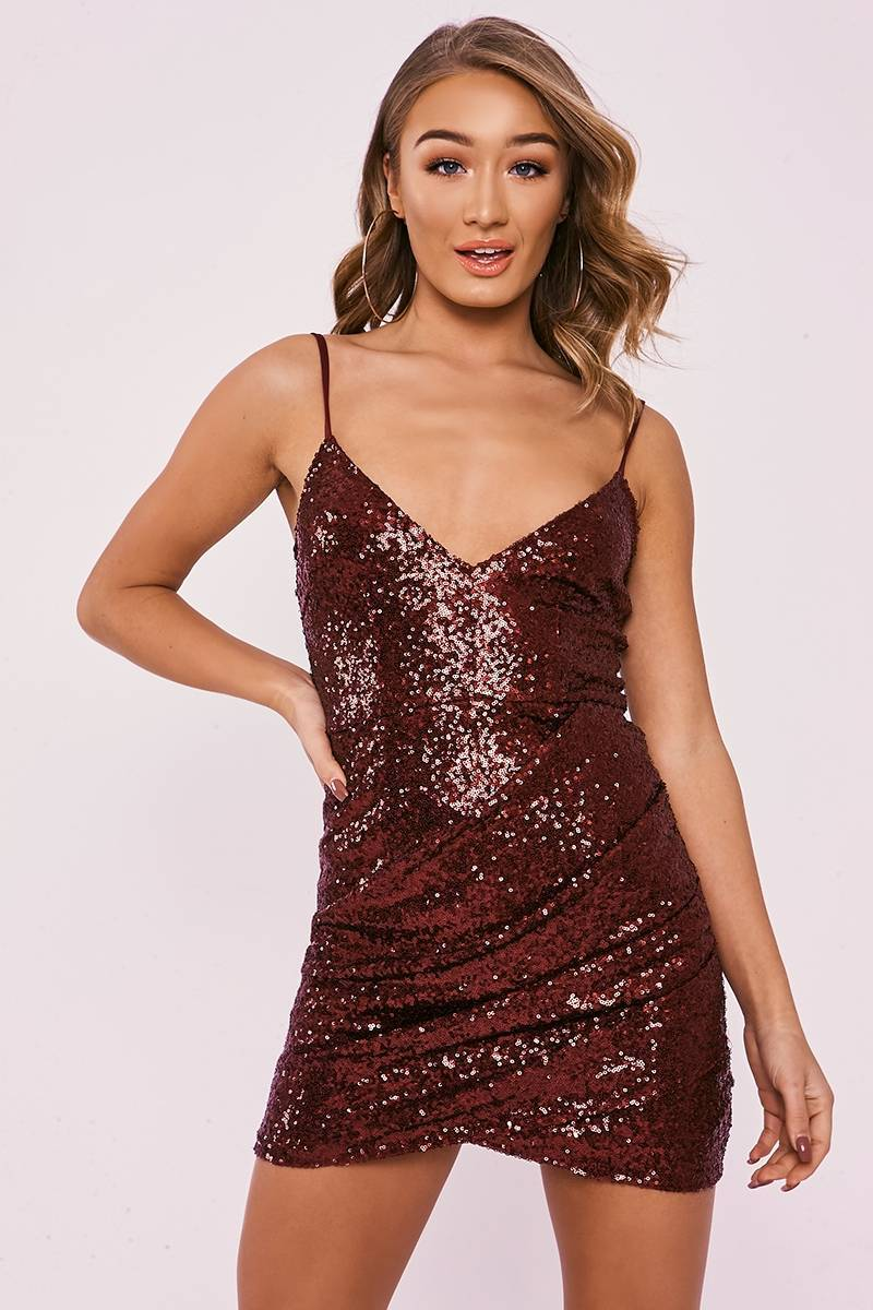 DELYLAH BURGUNDY SEQUIN PLUNGE RUCHED DRESS