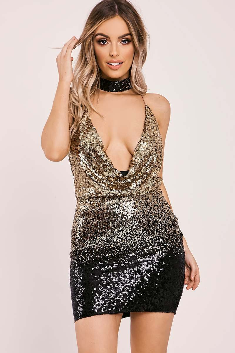 CODIE GOLD OMBRE SEQUIN COWL NECK MINI DRESS