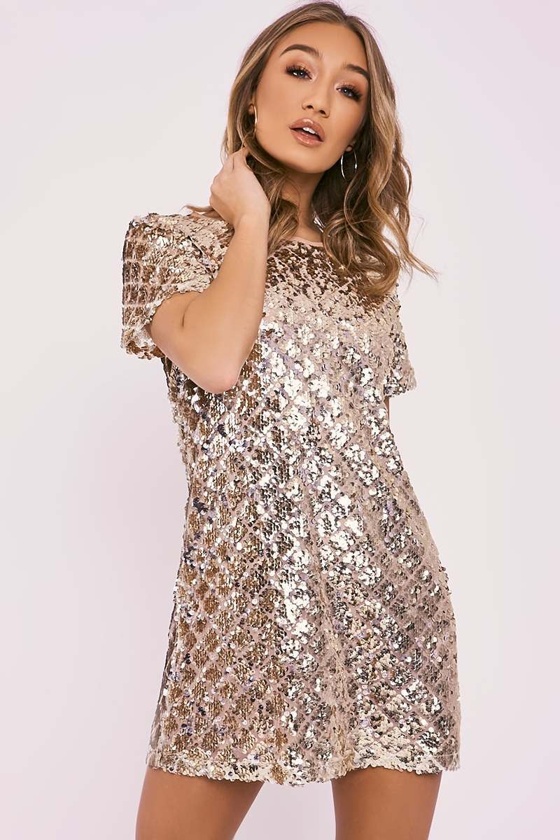 DREAH GOLD MERMAID SEQUIN T SHIRT DRESS