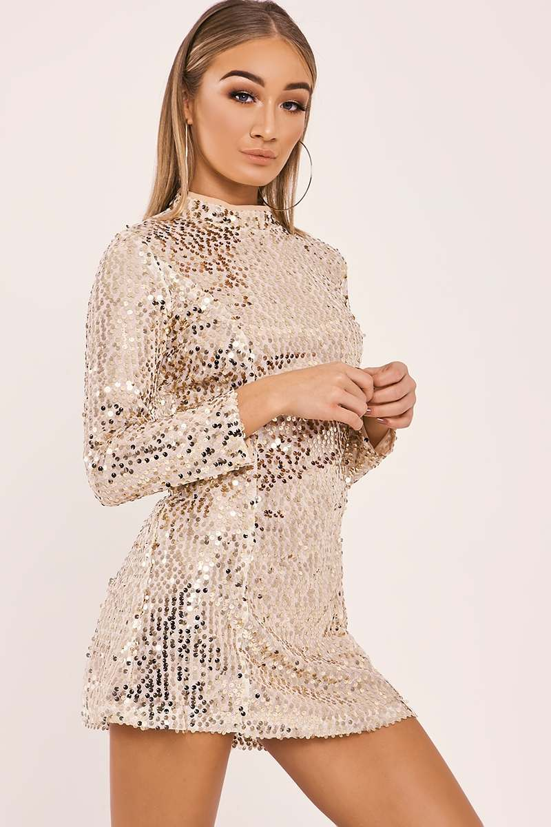SARELLA GOLD LONG SLEEVE SEQUIN MINI DRESS