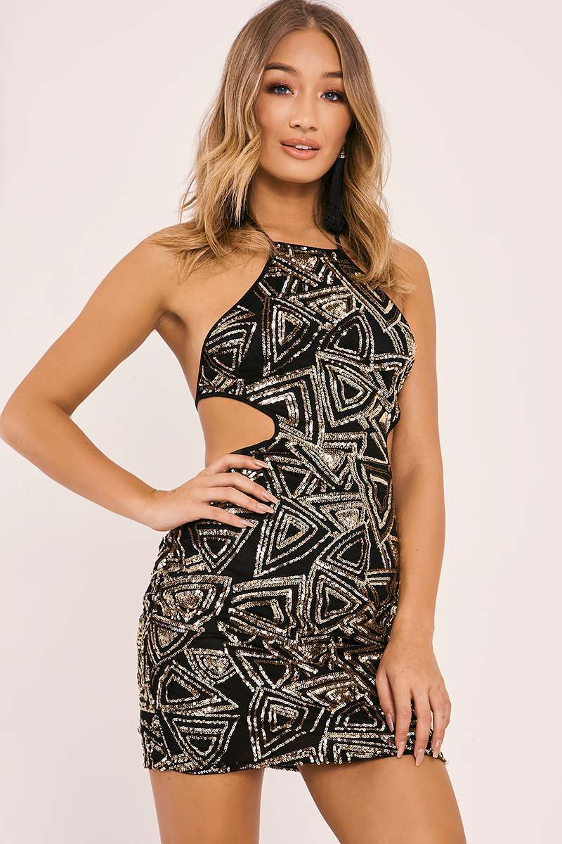 ARABELL GOLD CUT OUT SEQUIN MINI DRESS