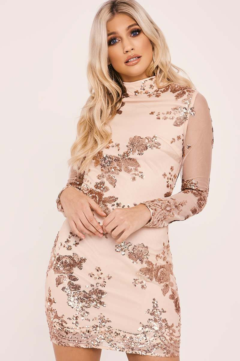 nude high neck floral sequin long sleeve dress