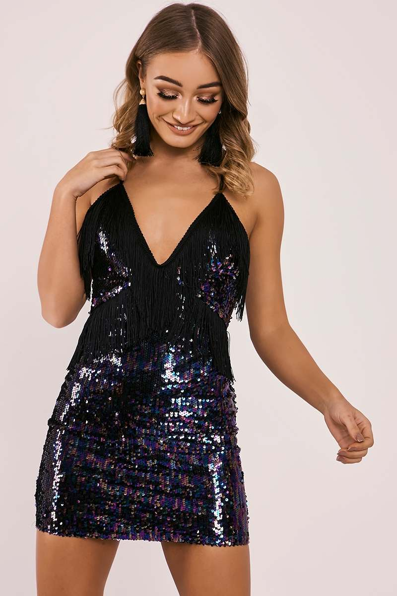 ABEY PURPLE FRINGE SEQUIN PLUNGE MINI DRESS