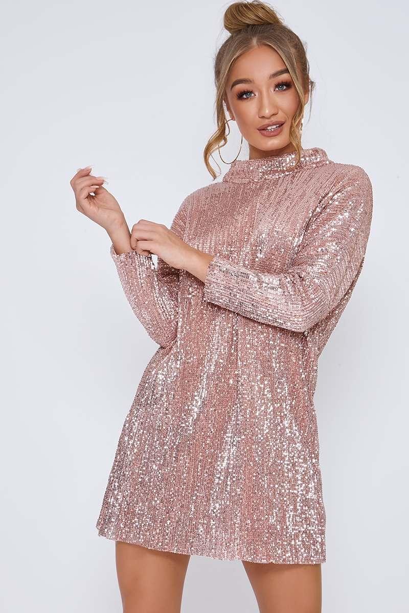 rose gold oversized sequin mini dress