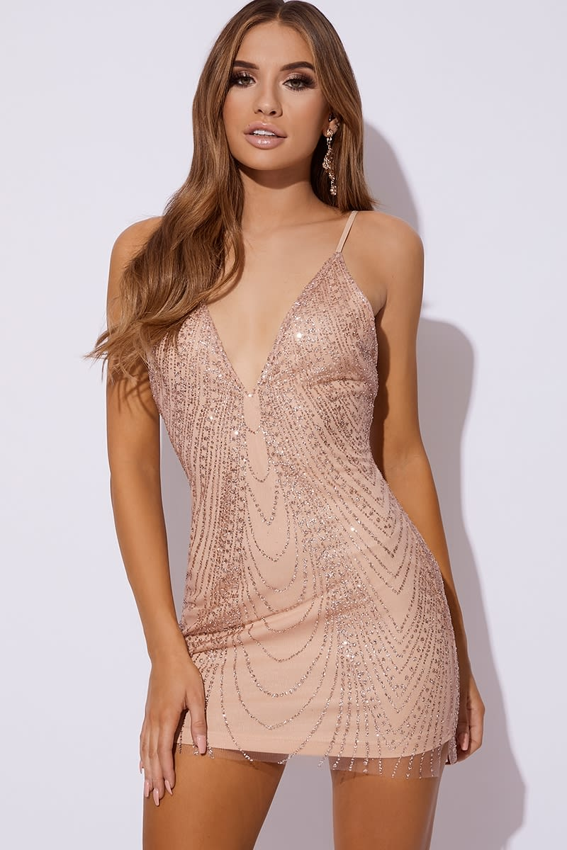 BELITA ROSE GOLD GLITTER MESH MINI DRESS