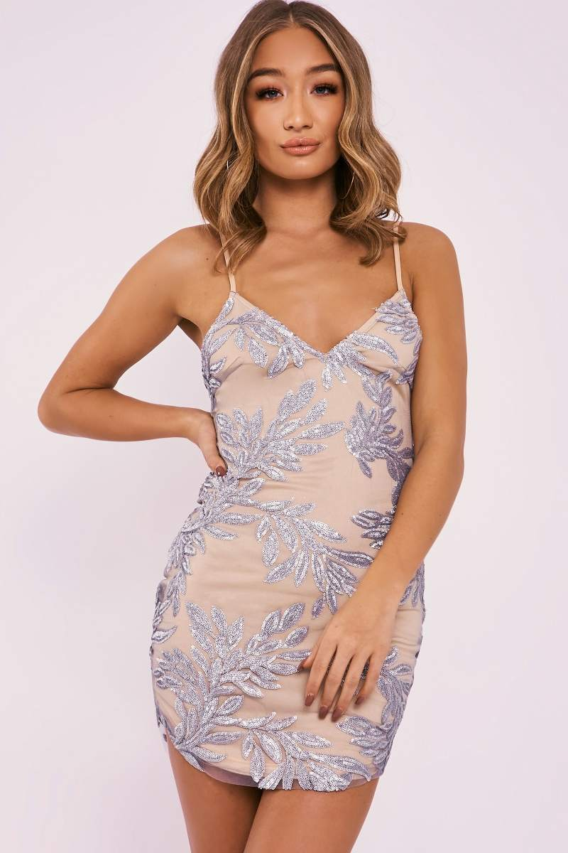 CAITIE SILVER SEQUIN LEAF PLUNGE BODYCON DRESS