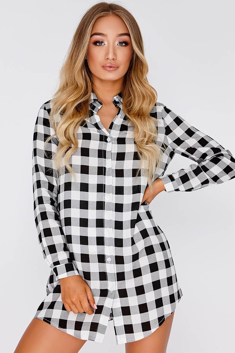 black & white checked shirt dress