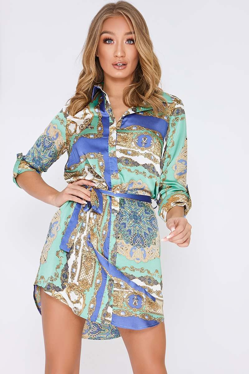 blue satin scarf print shirt dress